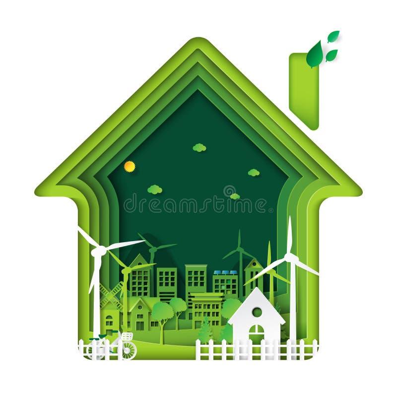 有房子和树抽象纸艺术的绿色eco城市 向量例证
