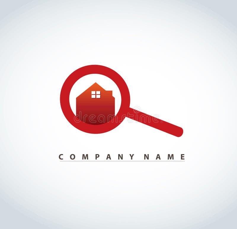 有房子商标设计的放大镜房地产房地产业传染媒介例证的 皇族释放例证