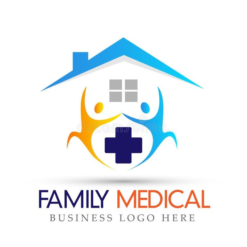 有房子的家庭健康卫生保健家商标活跃人民横渡在白色背景的象 向量例证
