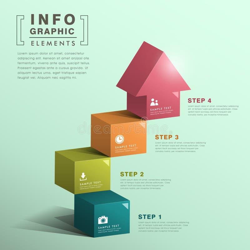 有房子infographics的抽象立方体台阶 皇族释放例证