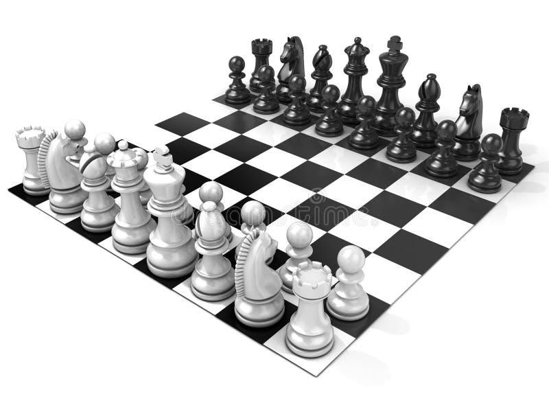 有所有棋子的棋盘 侧视图 向量例证