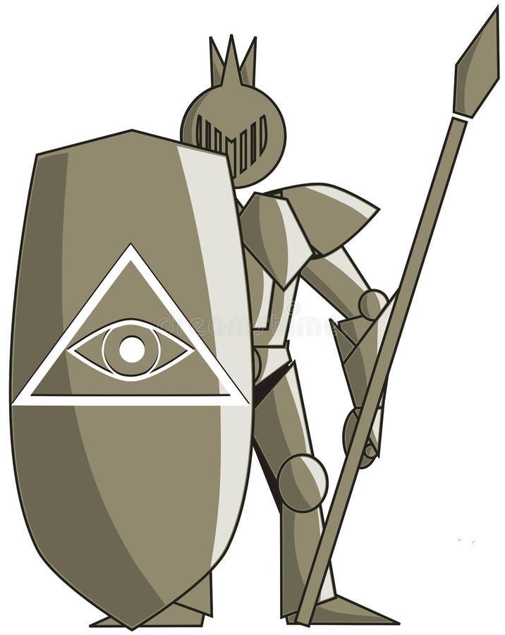 有所有看见的眼睛的风格化中世纪骑士 向量例证
