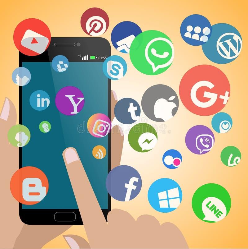 有所有社会网络的智能手机 向量例证