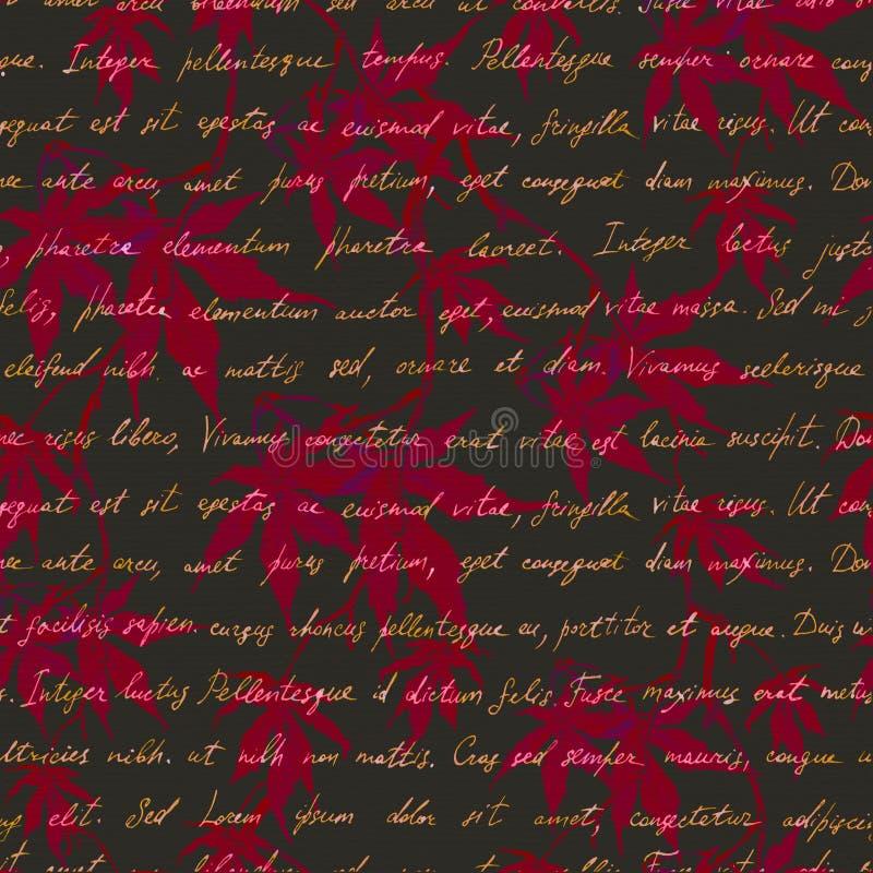 有手写的文本的红槭叶子 无缝的神奇样式 水彩 皇族释放例证