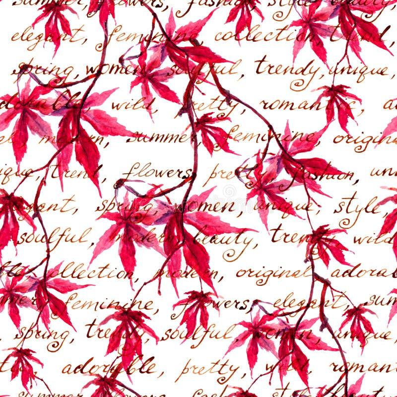 有手写的文本的红槭叶子 仿造无缝的葡萄酒 水彩 免版税库存照片