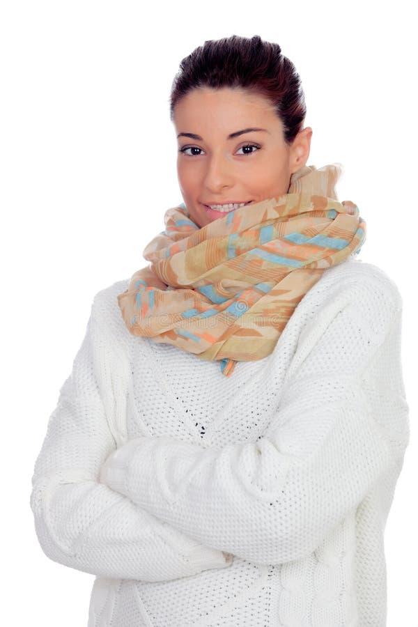 有手套和围巾的俏丽的妇女 免版税库存照片