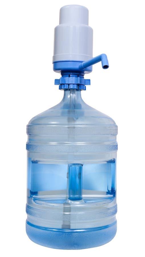 有手工泵浦分配器的饮用水瓶 免版税库存照片
