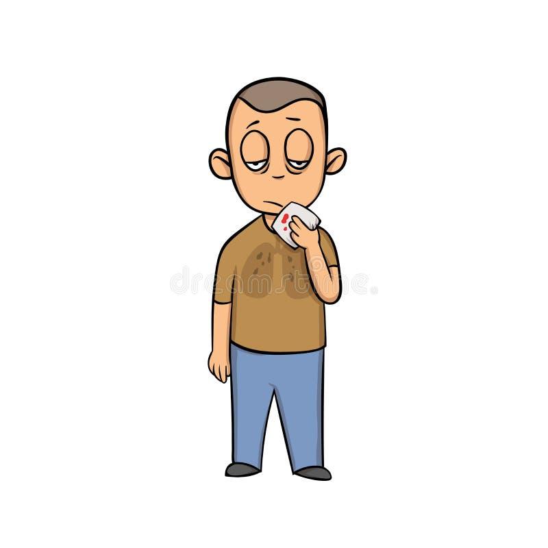 有手帕的年轻病的人在他的手上 肺病 动画片设计象 平的传染媒介例证 隔绝  向量例证