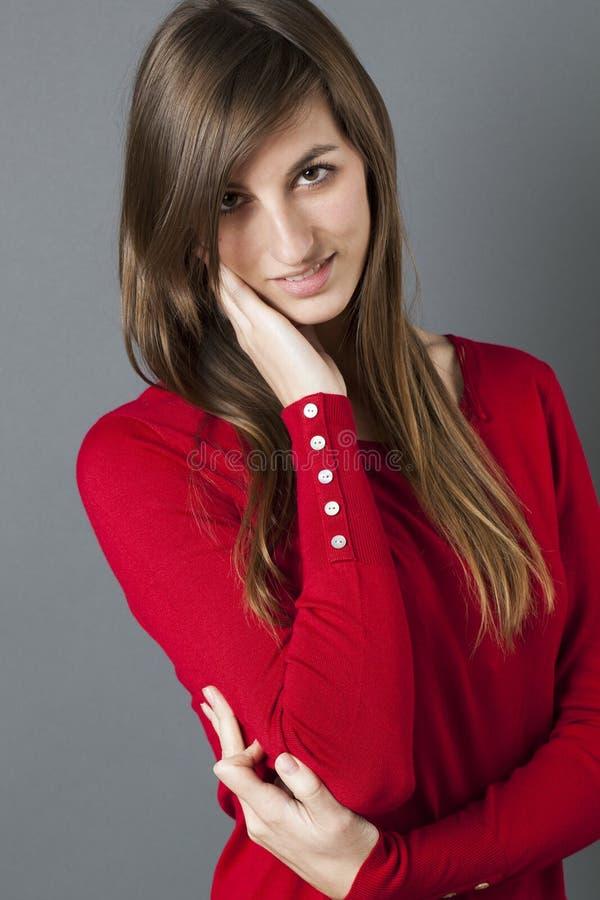 有手感人的面孔的女性少年再保证的 免版税库存图片