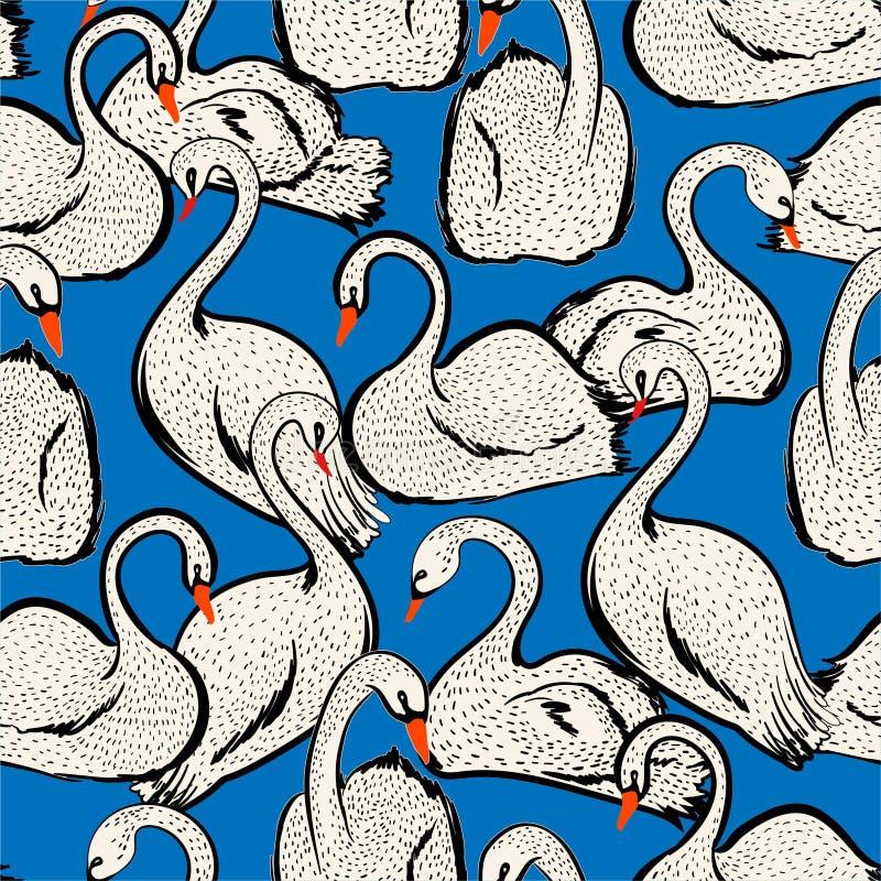 有手拉的乱画线的在传染媒介,时尚的,织品,网,墙纸设计的剪影天鹅鸟无缝的样式Summer湖 皇族释放例证