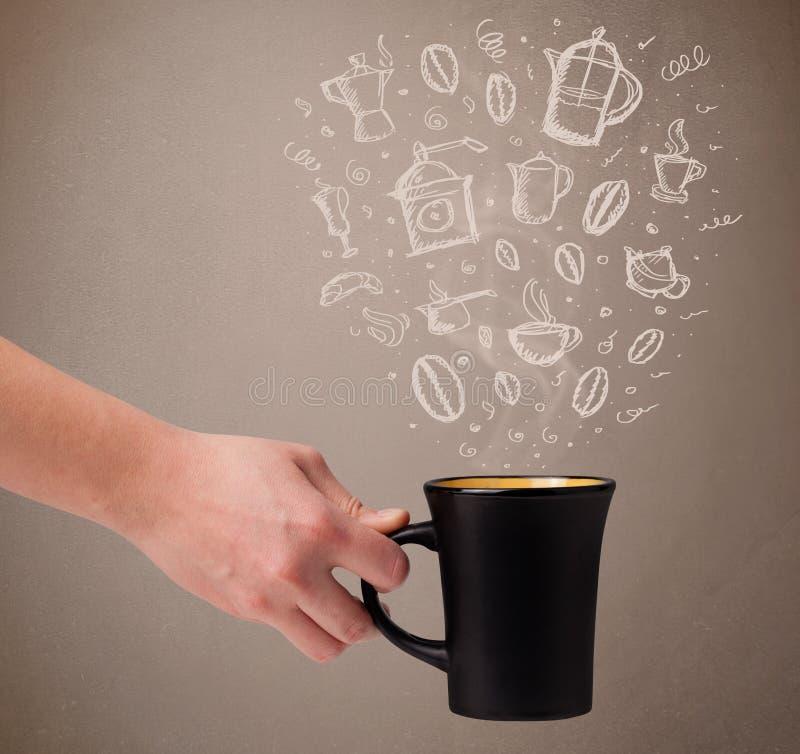 Download 有手拉的厨房辅助部件的咖啡杯 库存图片. 图片 包括有 latte, 现有量, 投反对票, 制动手, 符号 - 62526661