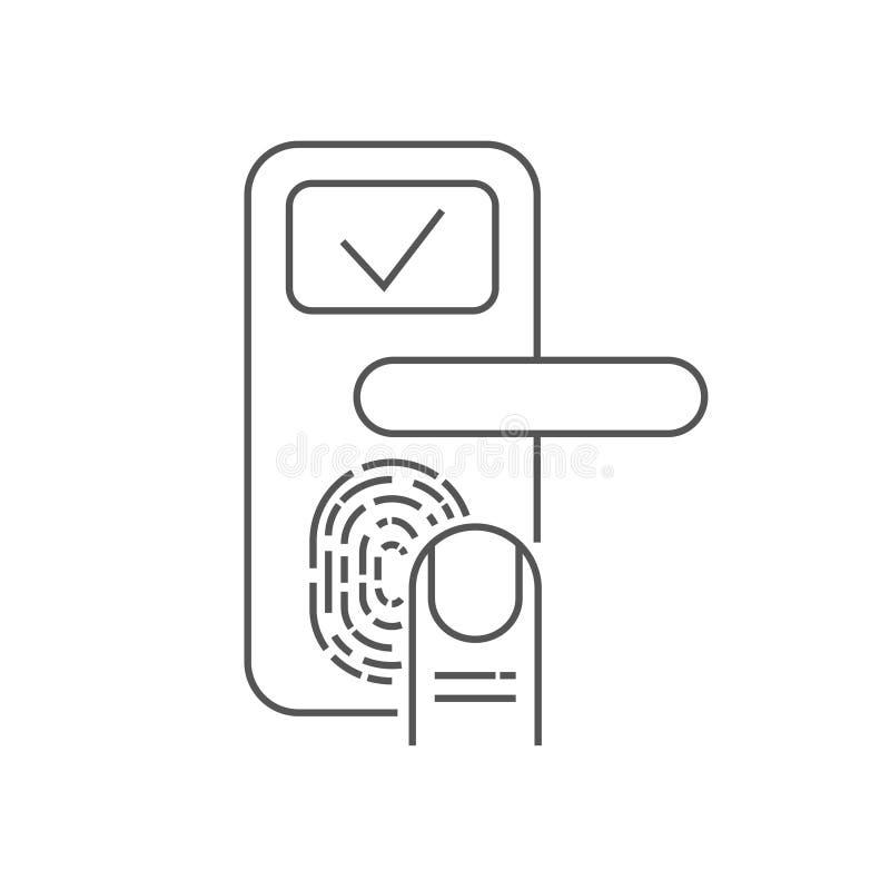 有手指扫描器的巧妙的门锁在白色背景 r 10 eps 库存例证