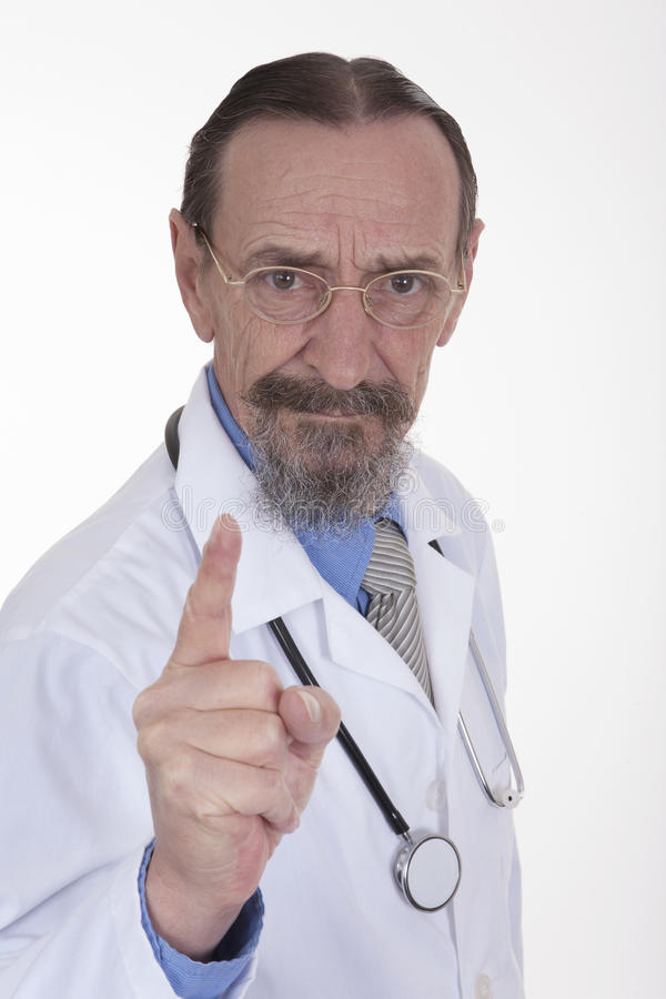 有手指的医生在警告上升了 免版税图库摄影