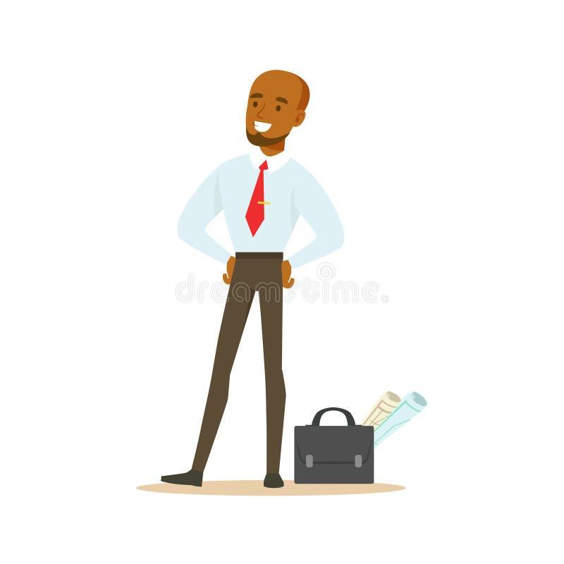 有手提箱和项目纸的,正式着装条例衣物的营业所雇员经理繁忙在工作微笑 皇族释放例证