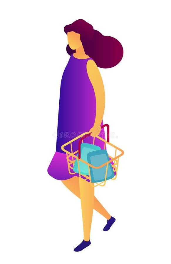 有手提篮等量3D例证的女性顾客 库存例证
