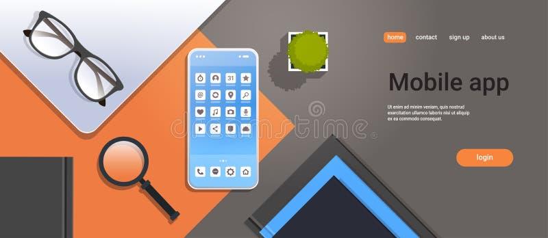有手机放大器徒升玻璃的流动应用象智能手机屏幕油罐顶部角钢视图工作场所桌面和 库存例证