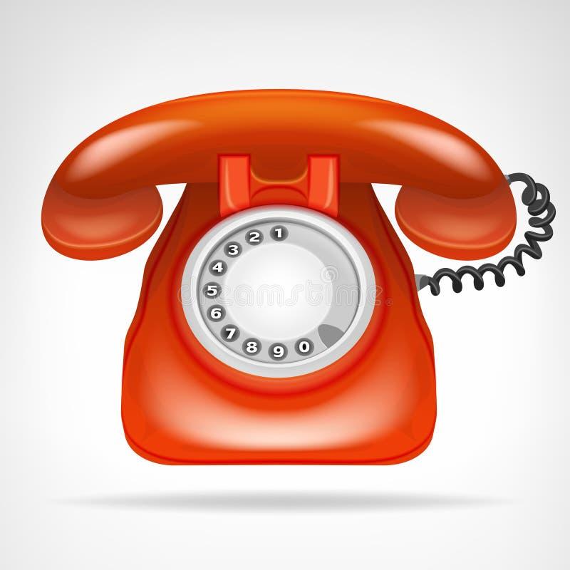 有手机的减速火箭的红色电话隔绝了在白色的对象 库存例证