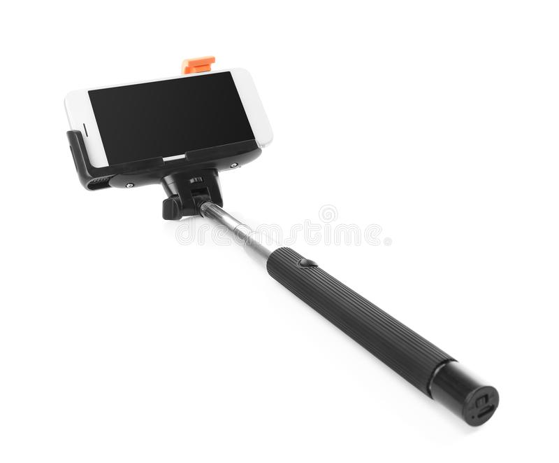 有手机的Selfie棍子 免版税库存图片