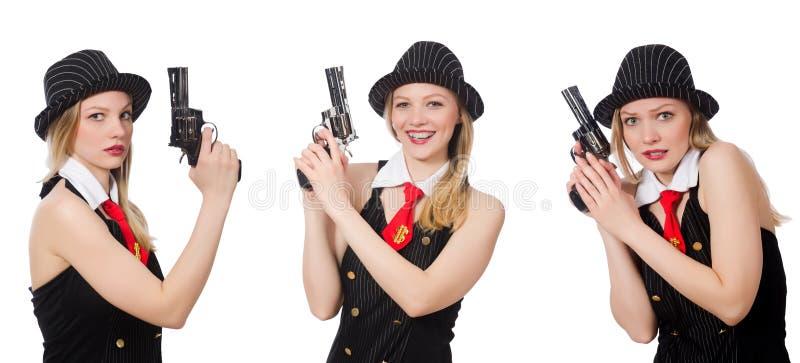 有手枪的匪徒妇女在白色 库存图片