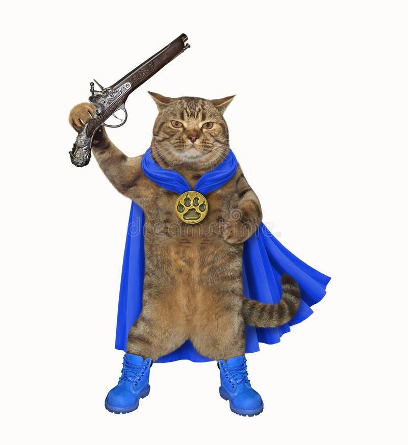 有手枪的猫英雄 库存图片