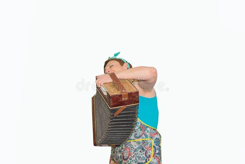 有手风琴和手风琴的妇女 免版税库存照片
