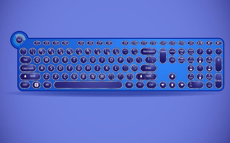 有打字机按钮的键盘在一个现代解释 库存例证
