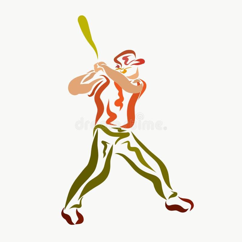 有打棒球,创造性的棒的一个人 向量例证