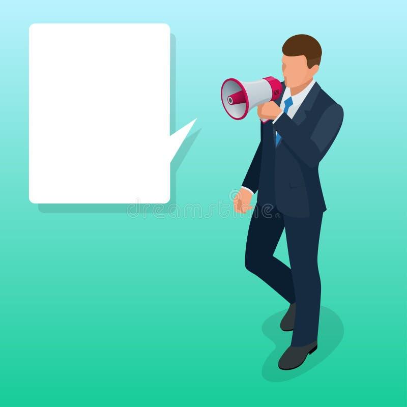 有扩音器平的传染媒介例证的等量人 报告人或扩音器 库存例证