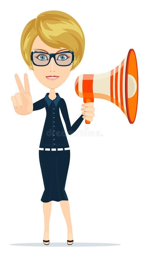 有扩音器的女性信使谈判员 库存例证