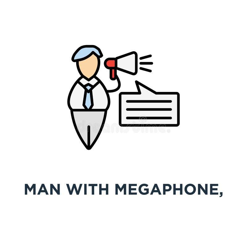 有扩音机的人,商人讲话与扩音机象 公告,广告,通信,优质质量概念 皇族释放例证