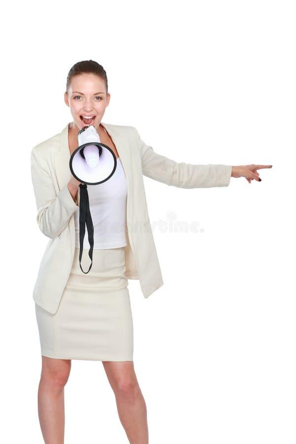 有扩音机的少妇,隔绝在白色背景 图库摄影