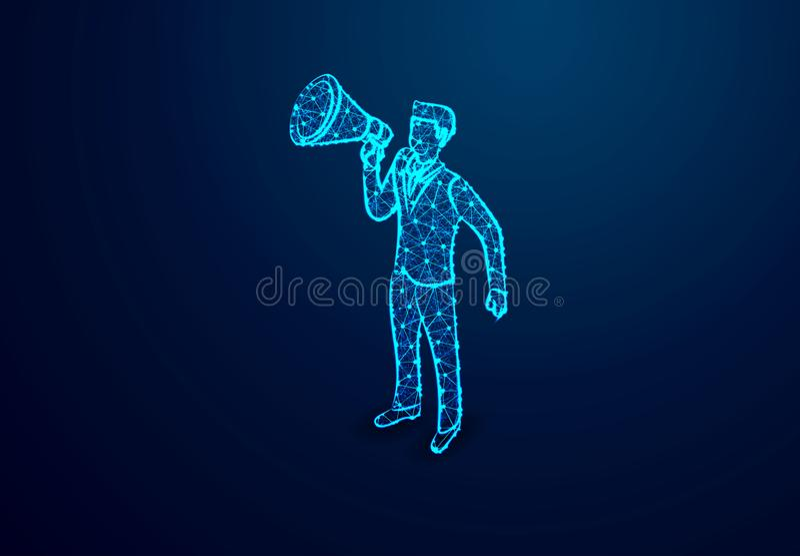 有扩音机的,聘用的intrusction商人 摘要低多,三角,小点,线,多角形 发光蓝色背景,传染媒介 向量例证