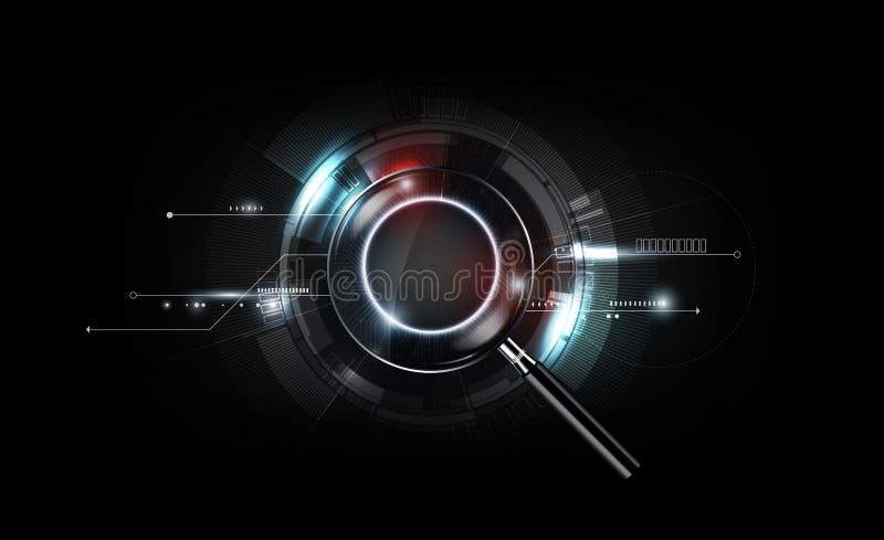 有扫描查寻概念和未来派电子技术背景的,透明传染媒介放大镜 皇族释放例证