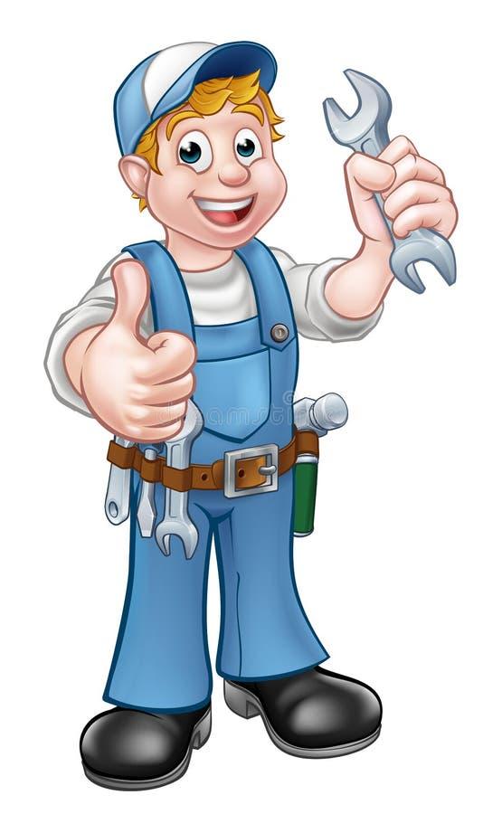 有扳手的管道工或技工 向量例证