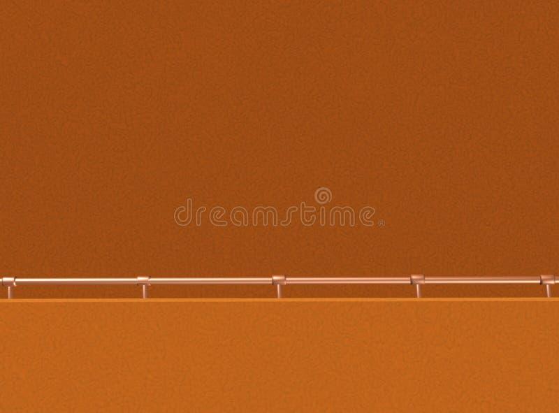 有扶手栏杆的橙色墙壁 向量例证