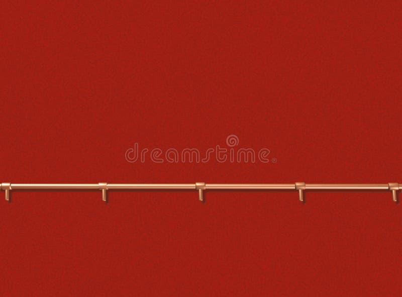 有扶手栏杆的红色墙壁 皇族释放例证