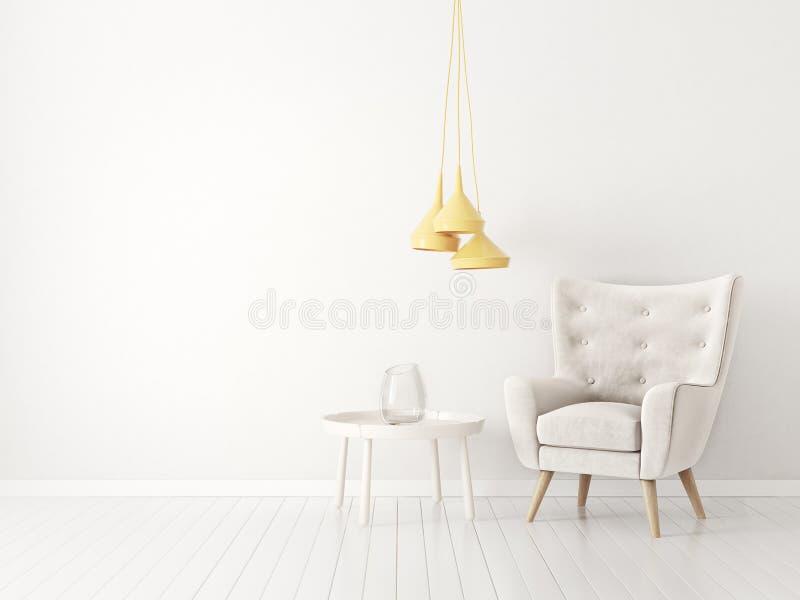 有扶手椅子和灯的现代客厅 斯堪的纳维亚室内设计家具 皇族释放例证