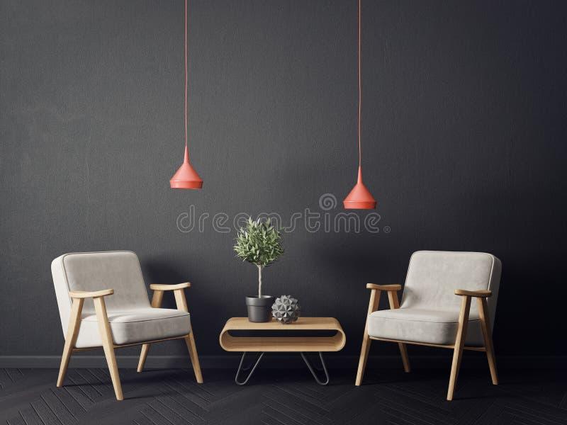 有扶手椅子和黑墙壁的现代客厅 斯堪的纳维亚室内设计家具 库存例证