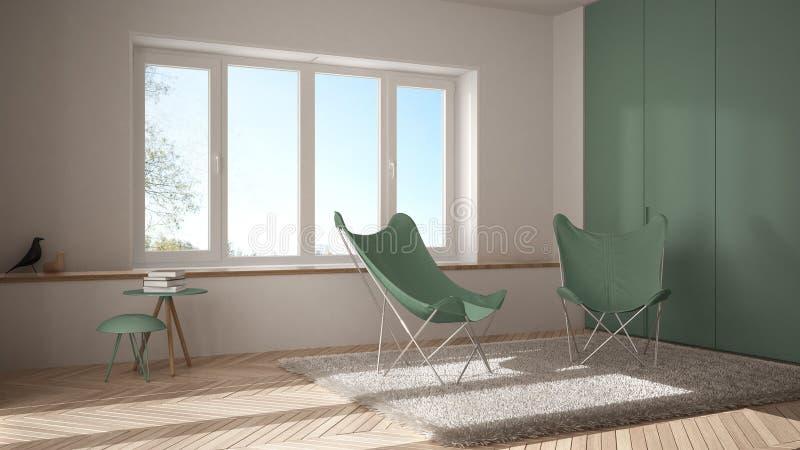 有扶手椅子地毯、镶花地板和全景窗口的白色和绿色最小的客厅 免版税图库摄影