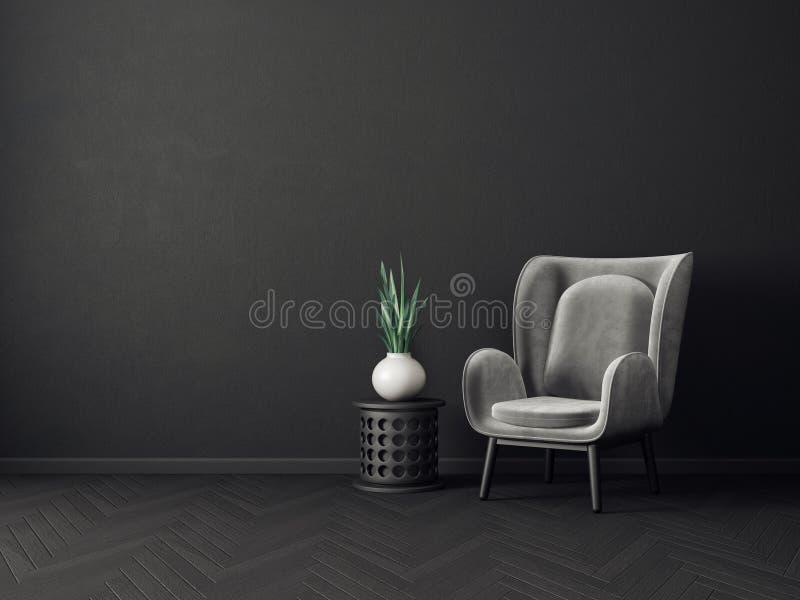 有扶手椅子的现代客厅 斯堪的纳维亚室内设计家具 库存例证