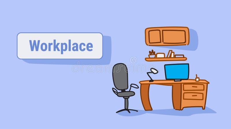 有扶手椅子膝上型计算机的空的工作场所在书桌办公家具剪影乱画水平 库存例证