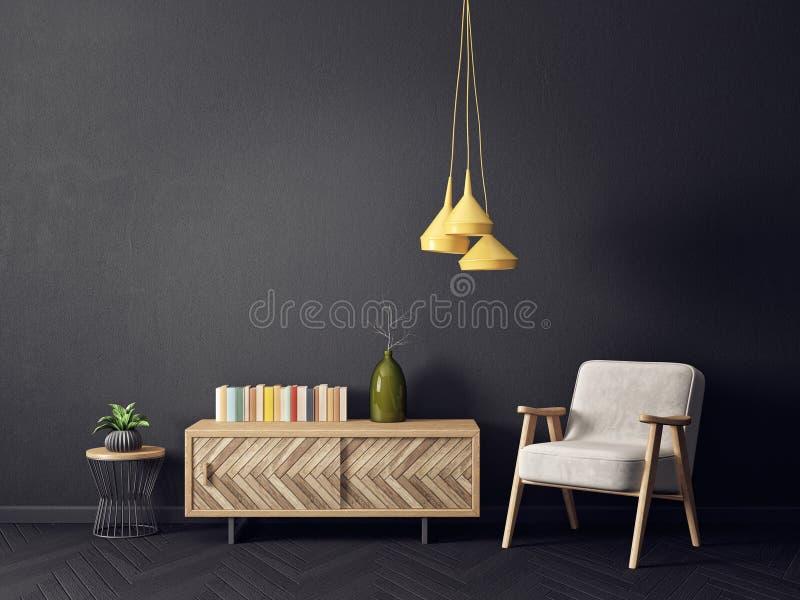 有扶手椅子黄色灯和黑墙壁的现代客厅 斯堪的纳维亚室内设计家具 向量例证
