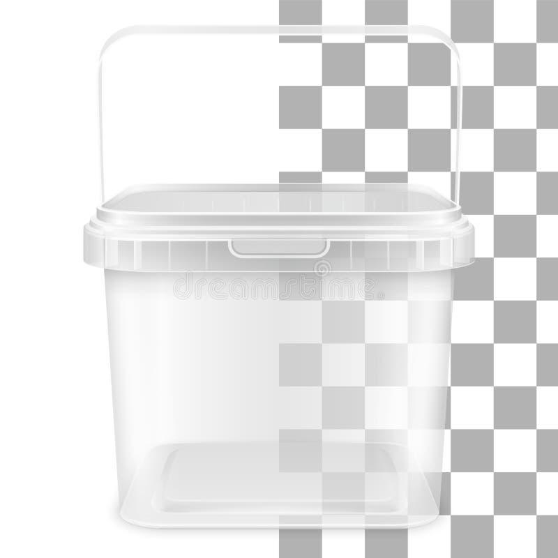 有把柄的传染媒介透明正方形空的塑料桶 o 向量例证