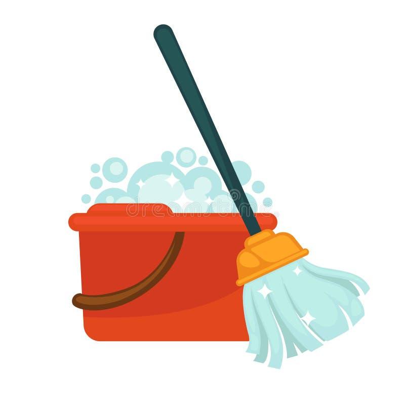 有把柄的塑料桶有很多肥皂和现代拖把 库存例证