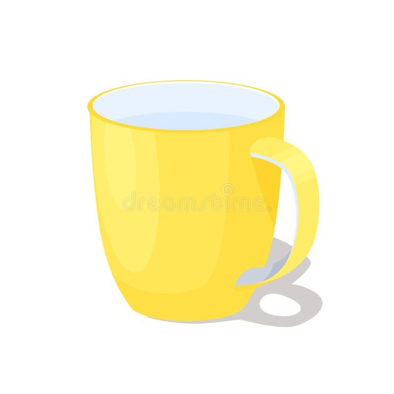 有把柄的大黄色陶瓷杯子有很多水 皇族释放例证