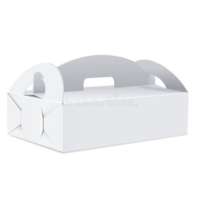 有把柄的空白的包裹箱子 向量例证