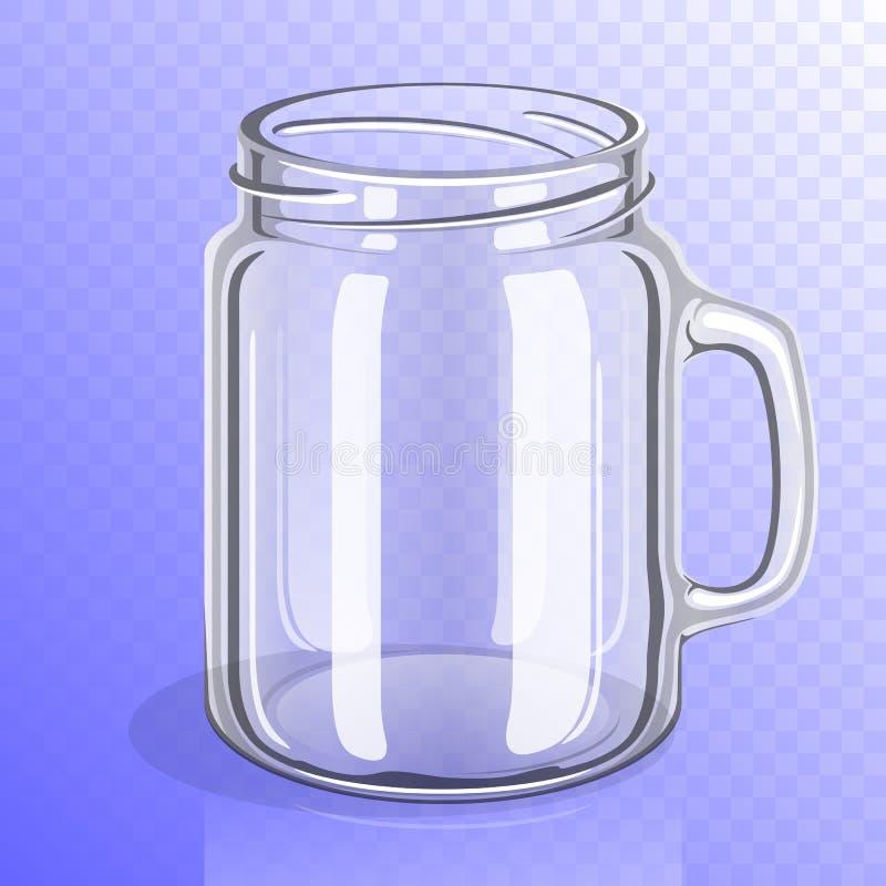 有把柄的空的玻璃瓶子 向量例证