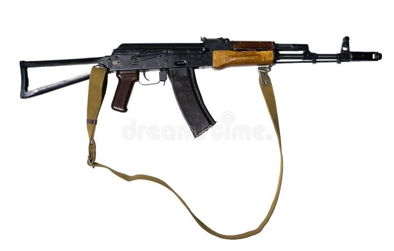 有折叠的靶垛的攻击步枪在白色背景 免版税库存照片