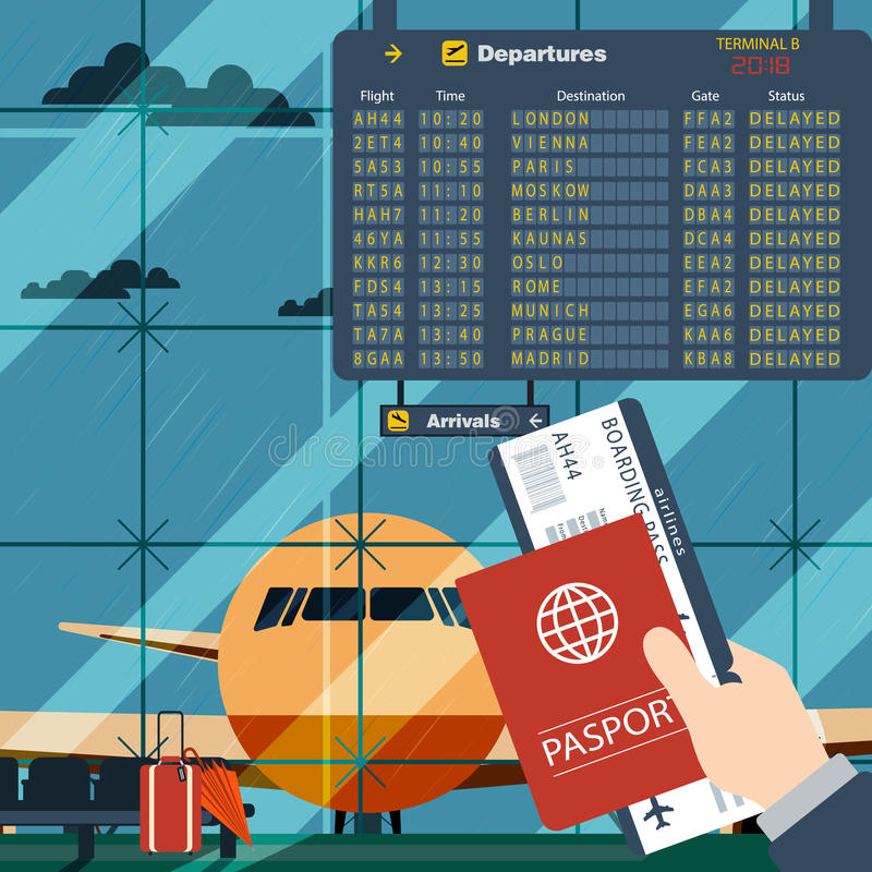 有护照和登舱牌等待的飞行的人 例证里面在机场平的设计有一架飞机的有跳板的 皇族释放例证