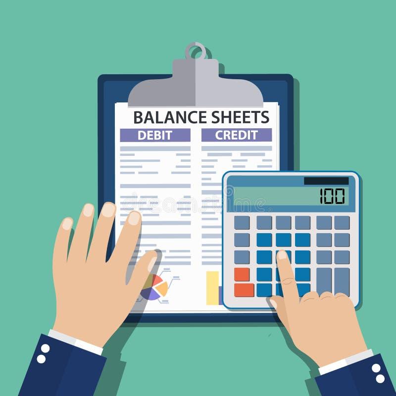 有报告和计算器的会计 库存例证